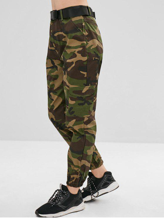 trendy Pockets Camouflage Belted Pants - WOODLAND CAMOUFLAGE L
