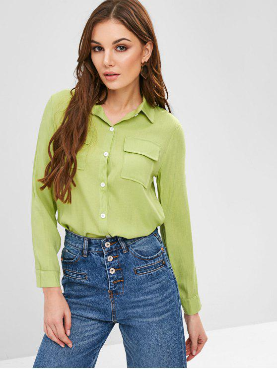 chic Roll Sleeve Chest Pockets Shirt - GREEN PEAS S