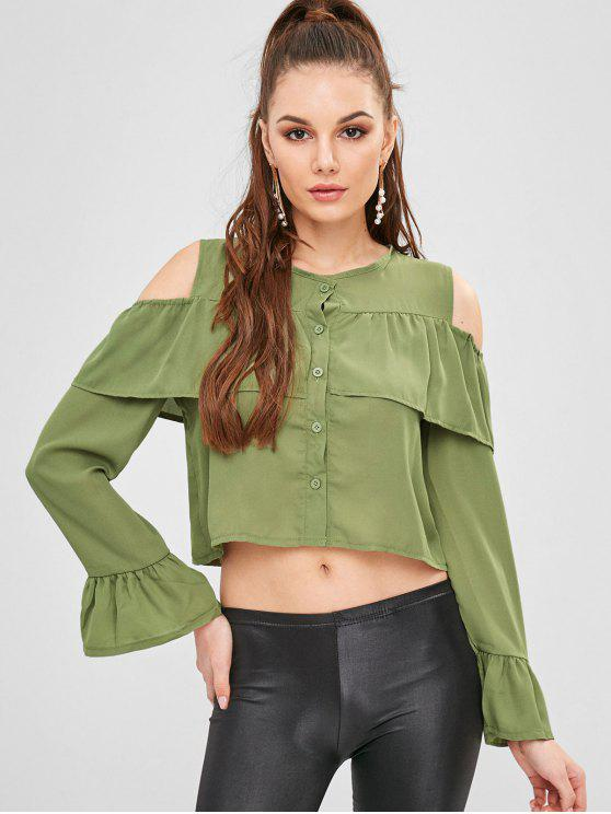new Buttoned Cold Shoulder Crop Blouse - GREEN PEAS L
