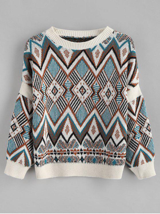 fancy Diamond Pattern Knitted Sweater - MULTI ONE SIZE