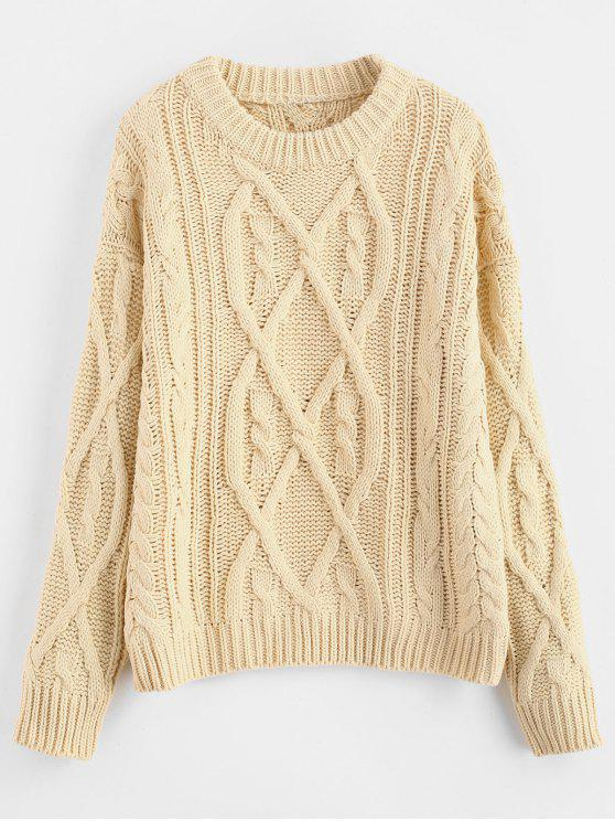 36% OFF  2019 Twisted Pattern Knitted Sweater In BLANCHED ALMOND ONE ... a09788df8