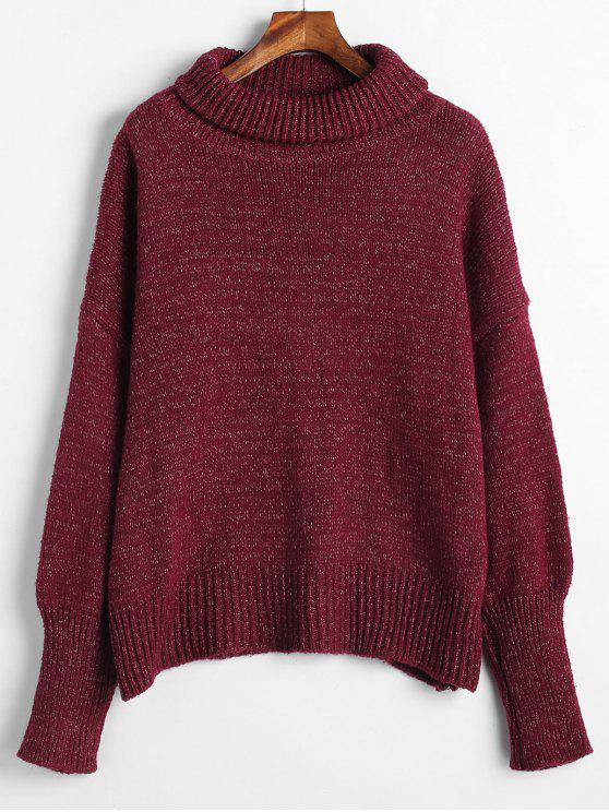 unique Mixed Oversized Turtleneck Sweater - RED WINE ONE SIZE