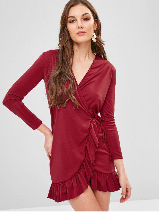 outfits Long Sleeve Mini Ruffled Wrap Dress - RED WINE S