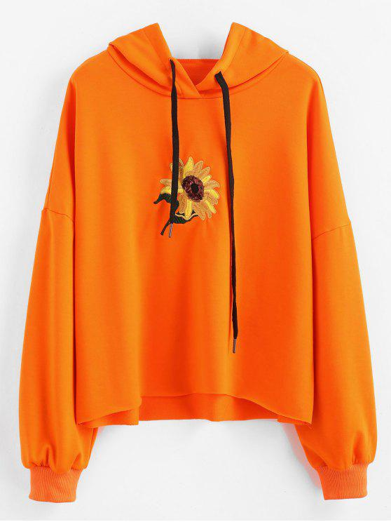 trendy Sequin Flower Embroidered Hoodie - ORANGE M