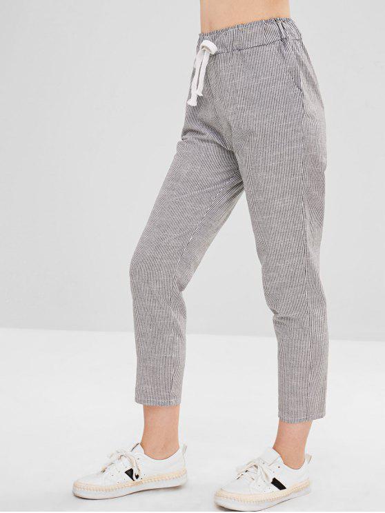 trendy Stripes Drawstring Straight Pants - BLACK L