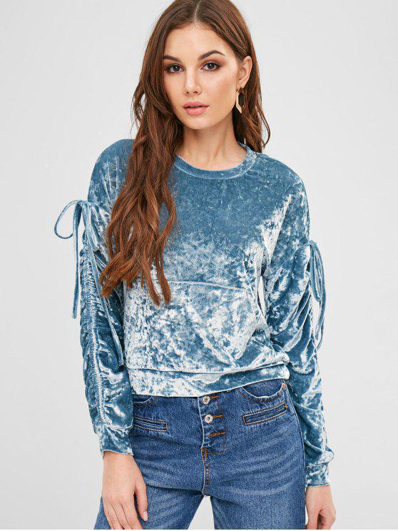 lady ZAFUL Pouch Pocket Crushed Velvet Sweatshirt - BLUE IVY M