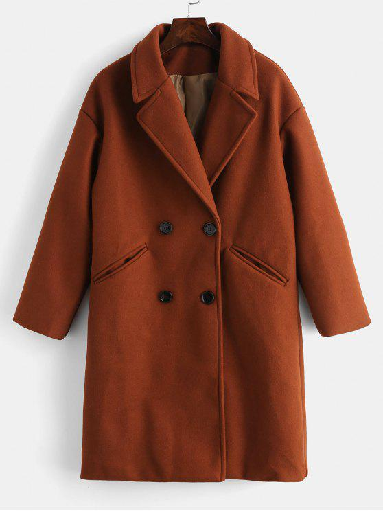 lady Double Breasted Plain Lapel Coat - CHESTNUT RED S