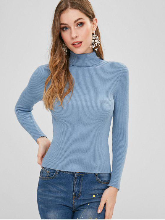 womens Turtleneck Ribbed Jumper Sweater - BLUE KOI ONE SIZE