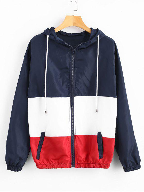 online Zip Up Colorblock Hooded Jacket - MULTI-A S