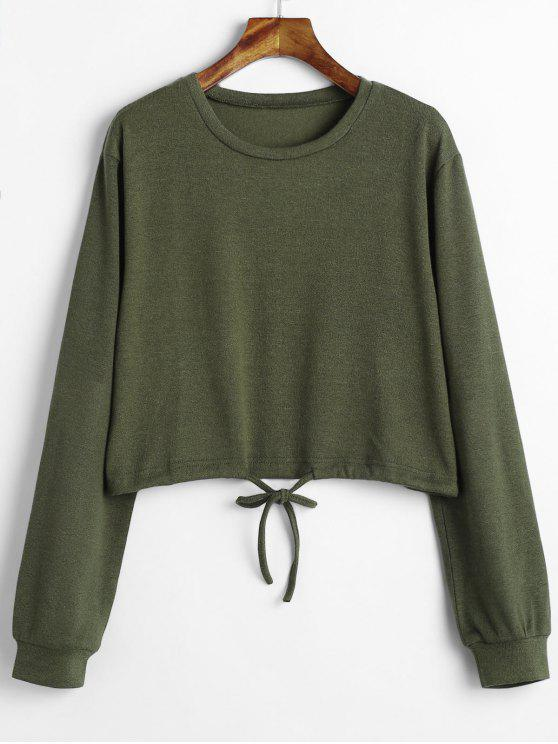 ladies Drawstring Waist Cropped Sweater - ARMY GREEN L