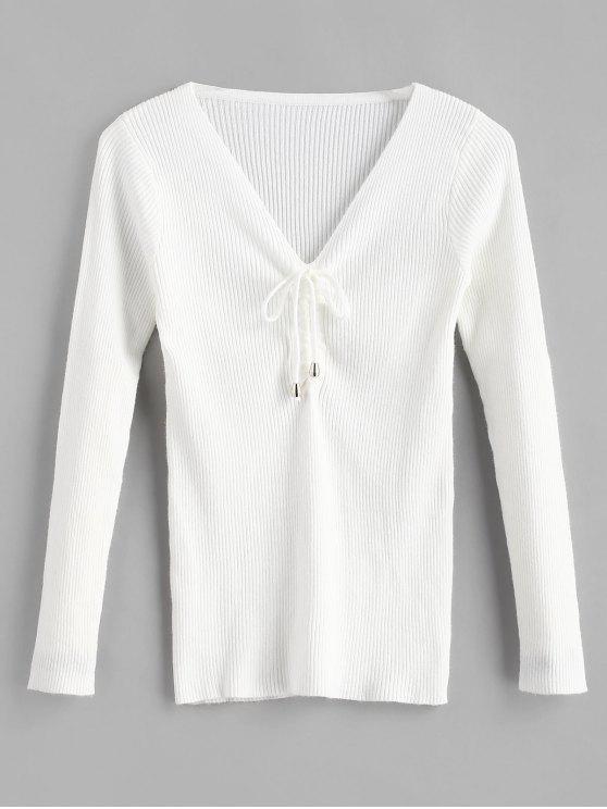 Pullover mit V-Ausschnitt - Weiß Eine Größe