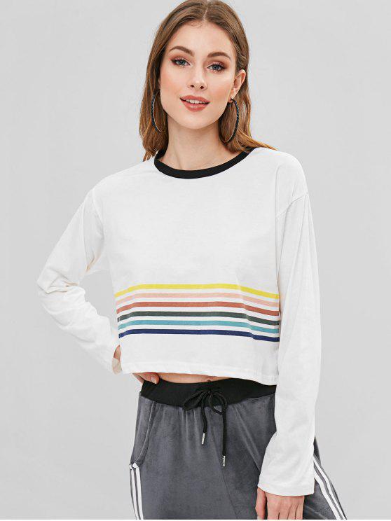 T-shirt Panneau Rayé à Ourlet Contrasté - Blanc XL