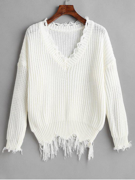 hot Drop Shoulder V Neck Distressed Sweater - WHITE ONE SIZE