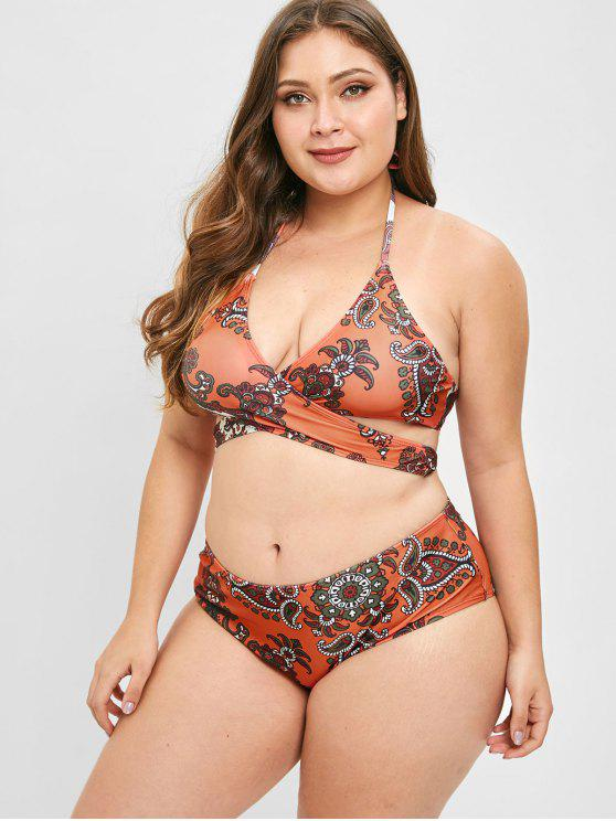 buy ZAFUL Retro Print Plus Size Wrap Bikini Set - HALLOWEEN ORANGE 2X
