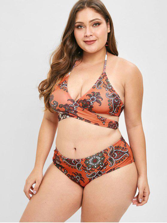 46a6a3ea70e78 ZAFUL Retro Print Plus Size Wrap Bikini Set - Halloween Orange 3x