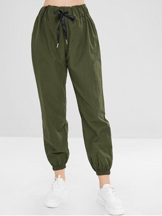 Pantalones de chándal de cintura alta lisos - Ejercito Verde L