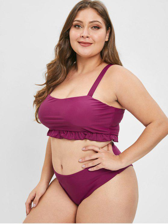 ba306bf89f 33% OFF] 2019 ZAFUL Ruffle Square Neck Plus Size Bathing Suit In RED ...
