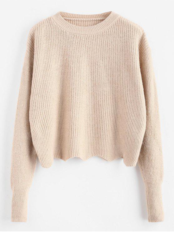 outfit Zig Zag Hem Crop Knitwear - BLANCHED ALMOND ONE SIZE