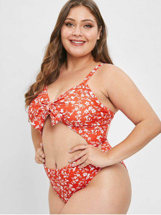 new ZAFUL Plus Size Floral Tied Backless Swimsuit - LAVA RED 2X