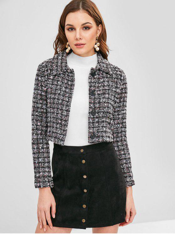 sale ZAFUL Cropped Button Up Tweed Jacket - MULTI M