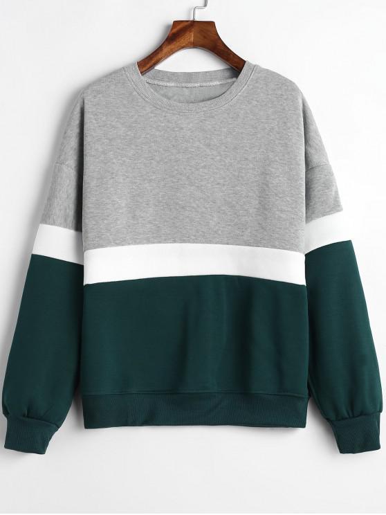 unique Paneled Color Block Fleece Sweatshirt - MULTI M