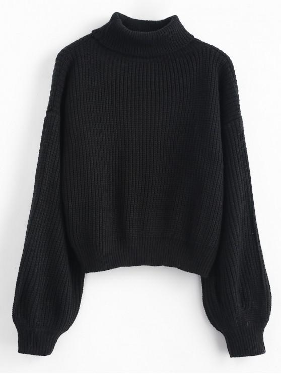 sale Turtleneck Lantern Sleeves Chunky Sweater - BLACK ONE SIZE