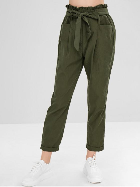 best Belted Cuffed Straight Pants - ARMY GREEN S