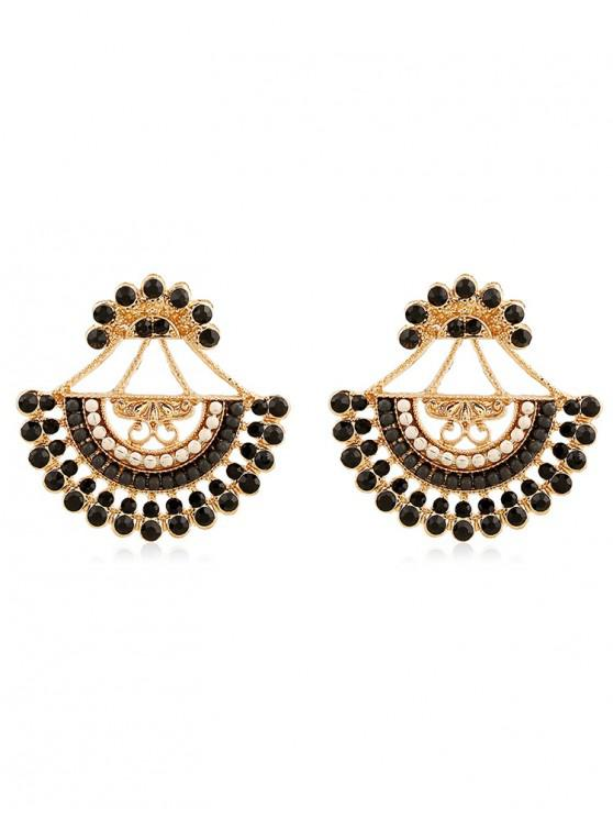 latest Rhinestone Inlaid Beaded Stud Earrings - BLACK