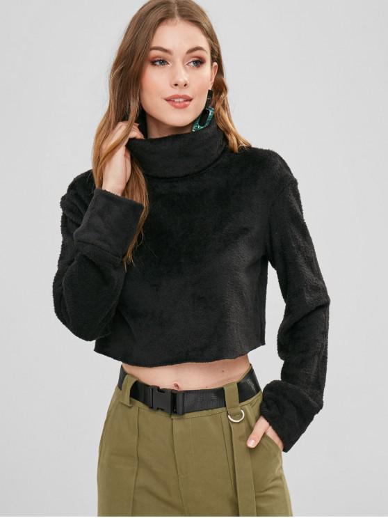 new ZAFUL Turtleneck Crop Faux Fur Sweatshirt - BLACK S