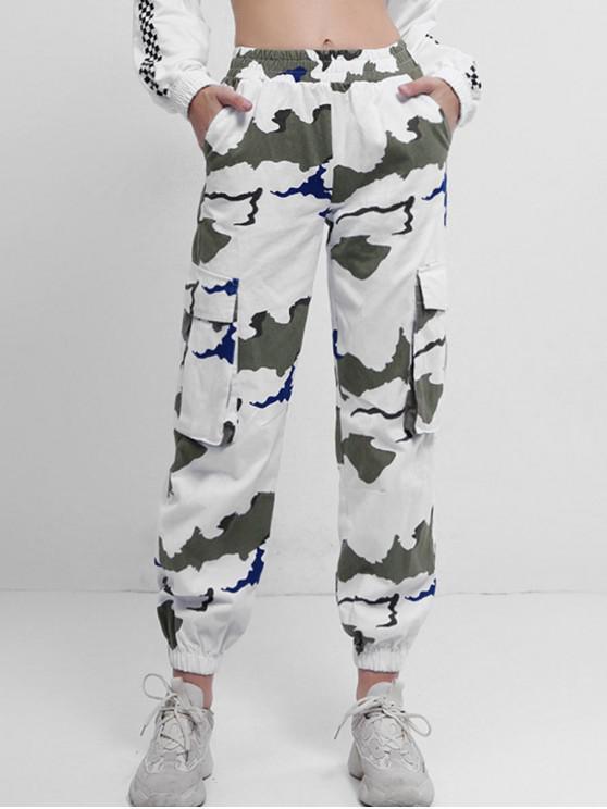 fashion Mid Waist Printed Jogger Pants - MULTI-A L