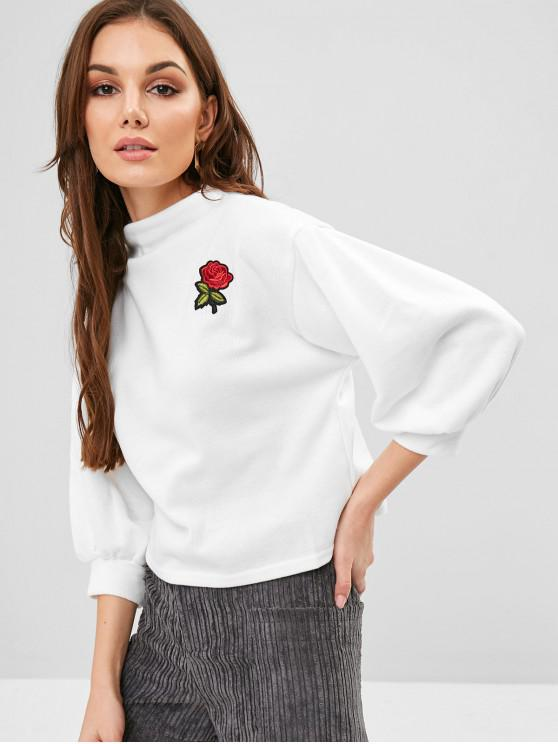new ZAFUL Lantern Sleeve Rose Embroidered Patches Sweatshirt - WHITE ONE SIZE