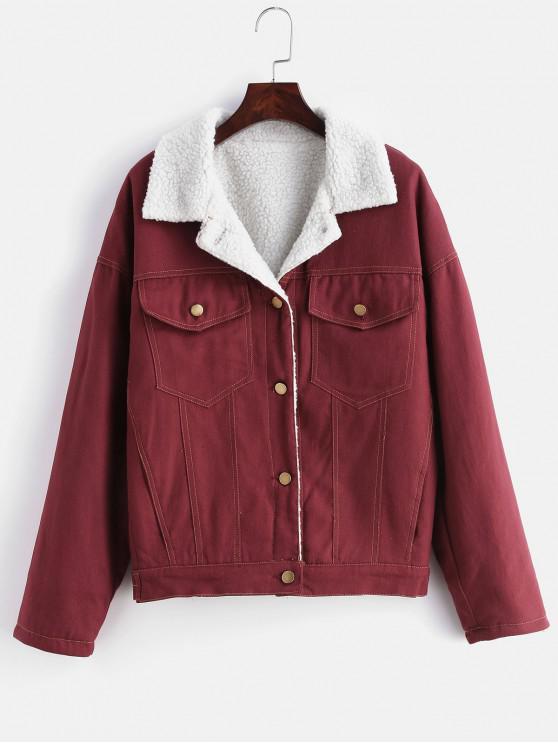 fashion Drop Shoulder Fleece Denim Jacket - RED WINE L