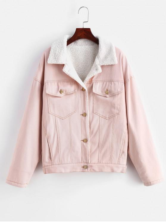 ladies Drop Shoulder Fleece Denim Jacket - PINK M