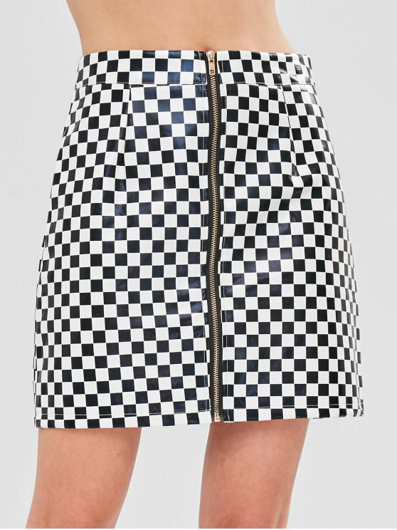 e38232d66 55% OFF] 2019 ZAFUL Checkered Zip Up PU Leather Skirt In MULTI | ZAFUL