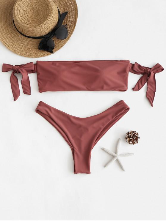 ladies ZAFUL Tie Off Shoulder Bikini Set - ROSE GOLD L