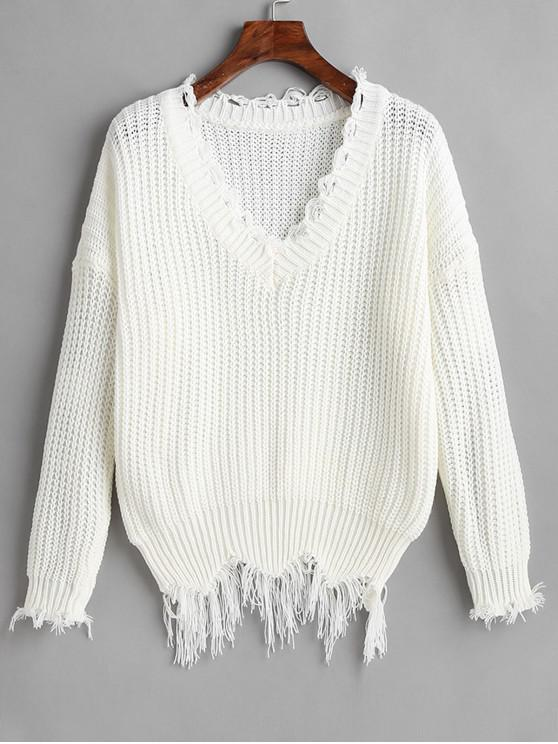 hot Ripped Drop Shoulder V Neck Sweater - WHITE ONE SIZE