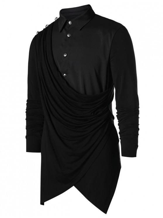 latest Asymmetric Button Up Solid Shirt - BLACK XL