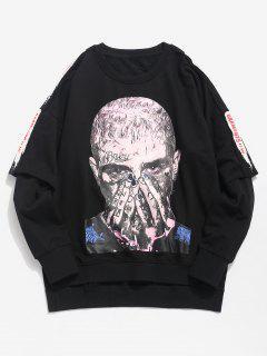 Portrait Graphic False Two Piece Sweatshirt - Black 2xl