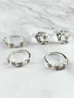 Rhinestone Decor Star Moon Cuff Rings Set - Silver