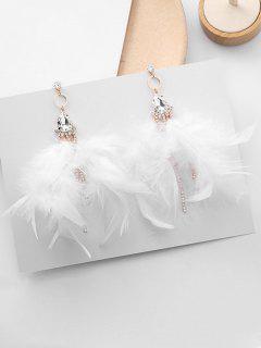Water Drop Zircon Decor Drop Earrings - White