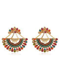 Rhinestone Inlaid Beaded Stud Earrings - Multi-a