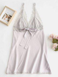 Robe De Pyjama Plongeante Avec Nœuds En Dentelle - Lilas M