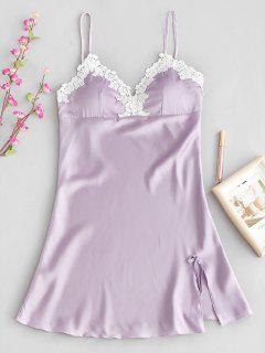 Vestido De Pijama Con Relleno De Encaje De Croché Acolchado Floral - Lila 2xl