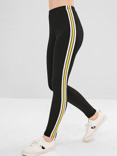 Striped Patch Ponte Pants - Black S