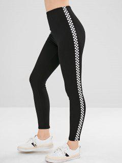 Side Checkered Ponte Pants - Black S