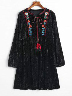 Embroidered Velvet Smock Peasant Dress - Black L