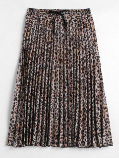 Leopard Print Pleated Midi Skirt - Leopard L