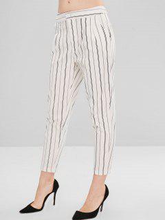 Straight Pockets Stripes Pants - White L