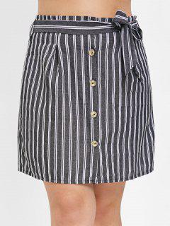 Button Through Plus Size Mini Skirt - Multi 3x
