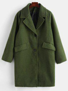 Button Up Pockets Lapel Coat - Army Green M
